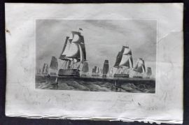Tyrrell 1858 Antique Crimea Print. Fleet in the Baltic. Naval Ships